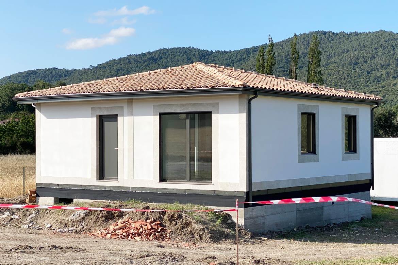 Casa prefabricada fachada mortero acrilico